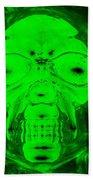 Skull In Radioactive Negative Green Bath Towel
