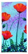 Sky Poppies Bath Towel