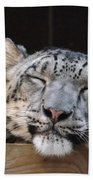 Sleeping Snow Leopard Bath Towel
