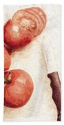 Sliced Tomatoes. Vintage Cooking Artwork Bath Towel