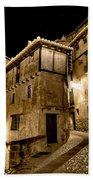 Small House In Albarracin At Night Bath Towel
