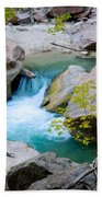 Small Virgin River Waterfall In Zion Canyon Narrows In Zion Np-ut Bath Towel