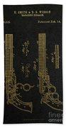 1854 Smith And Wesson Magazine Firearm Patent Art 2 Bath Towel