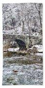 Snow Coming Down On The Wissahickon Creek Bath Towel