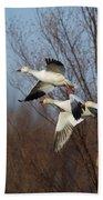 Snow Geese In Flight Bath Towel