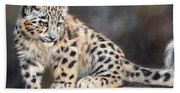 Snow Leopard Cub Bath Towel