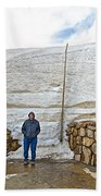 Snow Piles At Alpine Visitor's Center In Rocky Mountain National Park-colorado Bath Towel