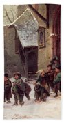 Snow Scene  Children Leaving School Bath Towel