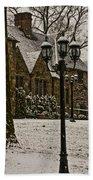 Snowing At Stokesay Castle Bath Towel