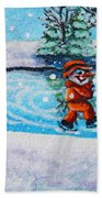 Snowman Friends Ice Skating  P2 Bath Towel