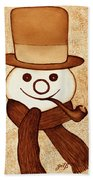 Snowman With Pipe And Topper Original Coffee Painting Bath Towel
