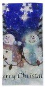 Snowmen Merry Christmas Photo Art Bath Towel