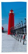Snowy Grand Haven Pier Bath Towel