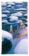 Snowy Merced River With Reflection Bath Towel