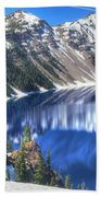 Snowy Mountains Reflected In Crater Lake Bath Towel