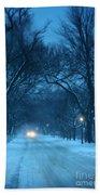 Snowy Road On A Winter Evening Bath Towel