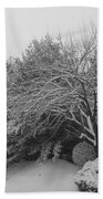 Snowy Trees In Black And White Bath Towel