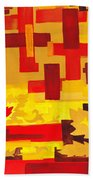 Soft Geometrics Abstract In Red And Yellow Impression I Bath Towel