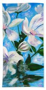 Soothing White Flowers Bath Towel