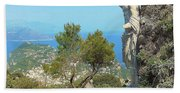 Sorrento Peninsula From Mt Solaro Capri  Bath Towel
