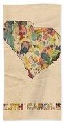 South Carolina Map Vintage Watercolor Bath Towel
