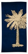 South Carolina State Flag Art On Worn Canvas Bath Towel