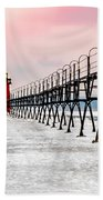 South Haven Light And Pier Bath Towel