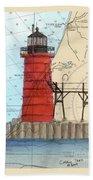 South Haven Lighthouse Mi Nautical Chart Map Art Cathy Peek Bath Towel