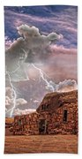 Southwest Navajo Rock House And Lightning Strikes Hdr Bath Towel