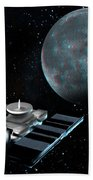 Space Exploration, Moon, Illustration Bath Towel