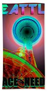 Space Needle Poster Work A Bath Towel
