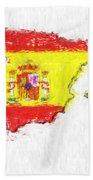 Spain Painted Flag Map Bath Towel