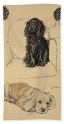 Spaniels, 1930, Illustrations Bath Towel