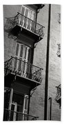 Spanish Balconies - Black And White Bath Towel
