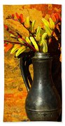 Spanish Flags In Pewter  Hand Towel