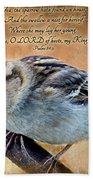 Sparrow With Verse Bath Towel