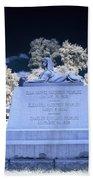 Sphinx Profile Near Infrared Blue And White Bath Towel
