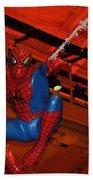 Spiderman Swinging Through The Air Bath Towel