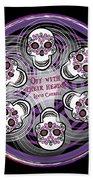 Spinning Celtic Skulls In Purple Hand Towel