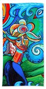 Spiral Bird Lady Bath Towel
