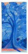 Spiral Tree Winter Blue Bath Towel