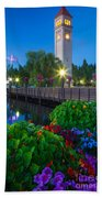 Spokane Clocktower By Night Bath Towel
