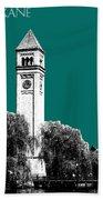 Spokane Skyline Clock Tower - Sea Green Bath Towel