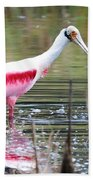 Spoonbill In The Pond Bath Towel