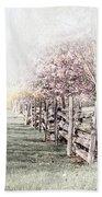 Spring Landscape With Fence Bath Towel