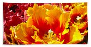 Spring Tulip Flowers Art Prints Yellow Red Tulip Bath Towel