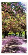 Spring Walkway Lined By Blooming Cherry Trees Bath Towel