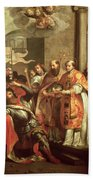 St. Bernard Of Clairvaux 1090-1153 And William X 1099-1137 Duke Of Aquitaine Oil On Canvas Bath Towel
