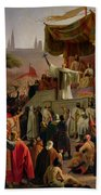 St Bernard Preaching The Second Crusade In Vezelay Bath Towel
