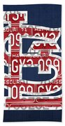 St. Louis Cardinals Baseball Vintage Logo License Plate Art Bath Towel